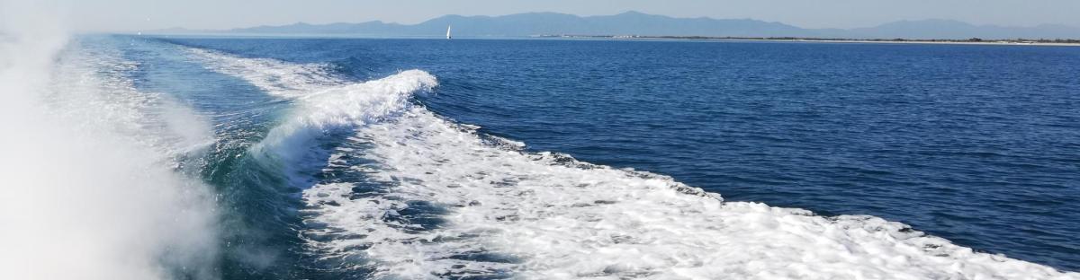 L'horizon à l'arrière d'un bateau
